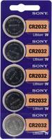 CR2032 lítium gombelem, 3 V, 220 mA, 5 db, Sony BR2032, DL2032, ECR2032, KCR2032, KL2032, KECR2032, LM2032 (111644) Sony