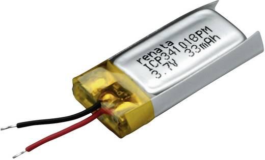 Speciális LiPo akku kábelel, 3,7 V, 35 mAh, Renata ICP341018PM