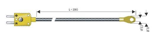B&B K-típusú hőmérséklet-érzékelő, szemessarú véggel, -50 - 400 °C (NiCrNi)