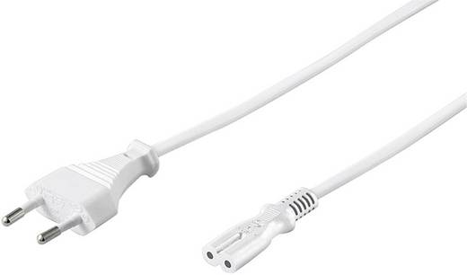 Euro hálózati kábel, borotva kábel [Euro dugó - C7 csatlakozó aljzat] 3m fehér színű Goobay 93987