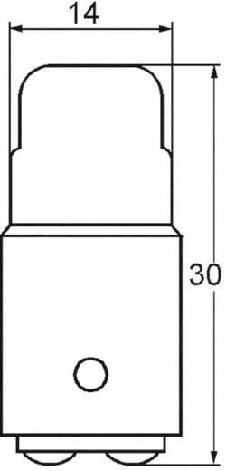 Cső izzó 110 - 130 V 2.6 W 0.02 A, foglalat: BA15d, átlátszó, Barthelme
