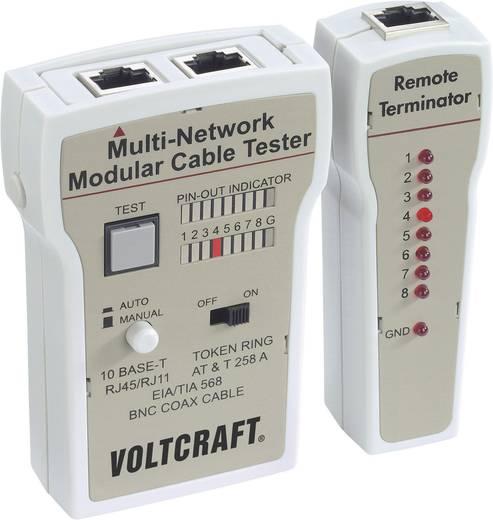 Koax kábel teszter, UTP, LAN hálózati kábel teszter RJ45, BNC csatlakozókhoz, kábelekhez Voltcraft CT-2