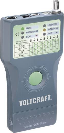 Koax kábel teszter, UTP, LAN hálózati kábel teszter, USB, RJ11/RJ45, BNC csatlakozókhoz, kábelekhez Voltcraft CT-5