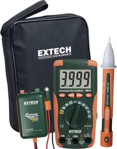 Digitális multiméter, mérőműszer mérőkészlet, szakadásvizsgálóval, érintés nélküli fázisceruzával Extech MN16A-KIT