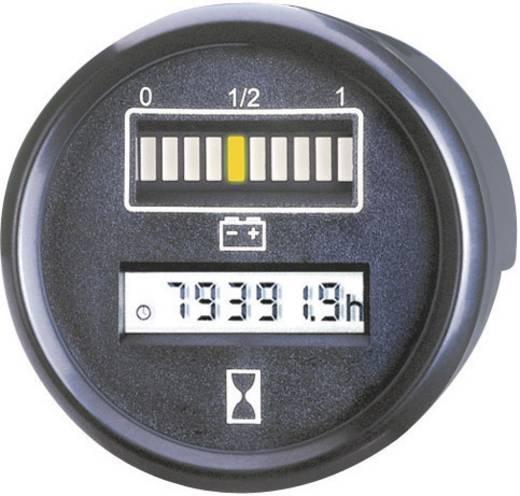 Autós akkufeszültség és üzemóra számláló műszer 12V 0 - 99999.9 h Ø 52 mm Bauser 830