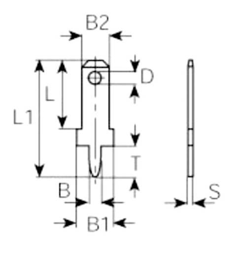 Dugaszoló csúszósaru, 2,8 mm / 0,8 mm 180° szigeteletlen, fémes Vogt Verbindungstechnik 3773a08.68 100 db