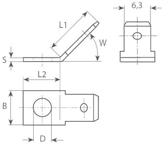 Dugaszoló csúszósaru, 6,3 mm / 0,8 mm 30° szigeteletlen, fémes Vogt Verbindungstechnik 3855.67
