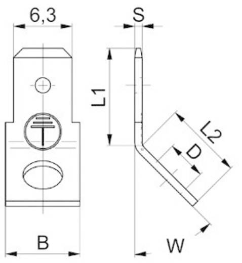 Dugaszoló csúszósaru, 6,3 mm / 0,8 mm 45° szigeteletlen, fémes Vogt Verbindungstechnik 3847e.68