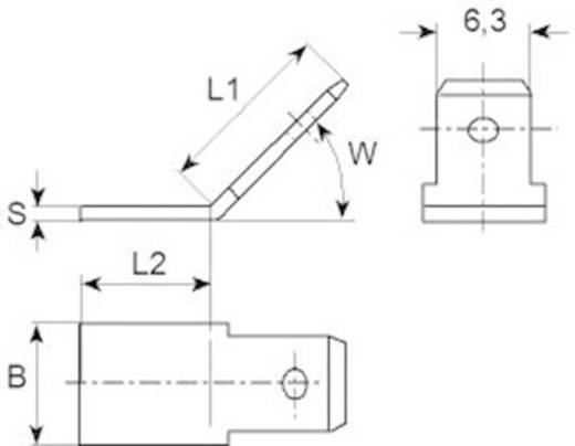 Dugaszoló csúszósaru, 6,3 mm / 0,8 mm 180° szigeteletlen, fémes Vogt Verbindungstechnik 38750b.67