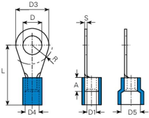 Gyűrűs kábelsaru 1.5 mm² 2.5 mm² M4 Részlegesen szigetelt Kék Vogt Verbindungstechnik 3633a 1 db