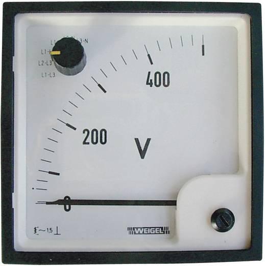 Lágyvasas mérőműszer átkapcsolóval, beépíthető lágyvasas műszer 0 - 500 V/AC Weigel EQ 96 SWT