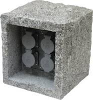Kerti hálózati elosztó, dekorációs kő formájú 4 részes aljzattal Gránitszürke Heitronic 36071 Heitronic