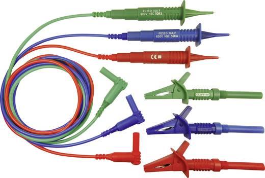 Multiméter mérőkábel, szigetelt mérőzsinór készlet, 4mm-es banándugóval, 3db krokodilcsipesszel 1.25 m Cliff CIH3022