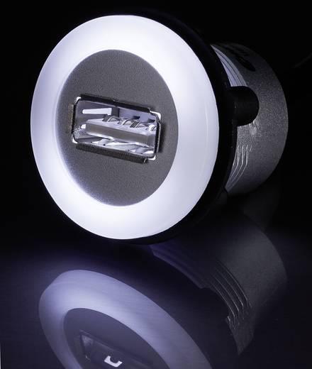 Beépíthető USB A 2.0 megvilágított aljzat, ezüst színű 60cm USB kábellel Conrad USB-05