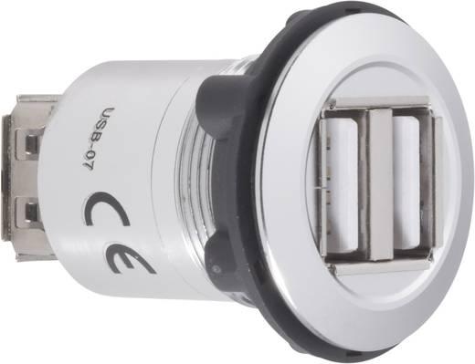Beépíthető USB A 2.0 kettős aljzat, ezüst Conrad USB-07