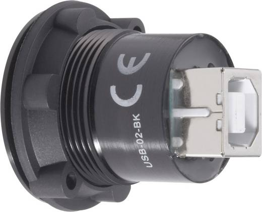 Beépíthető USB A - USB B 2.0 aljzat Conrad USB-02-BK
