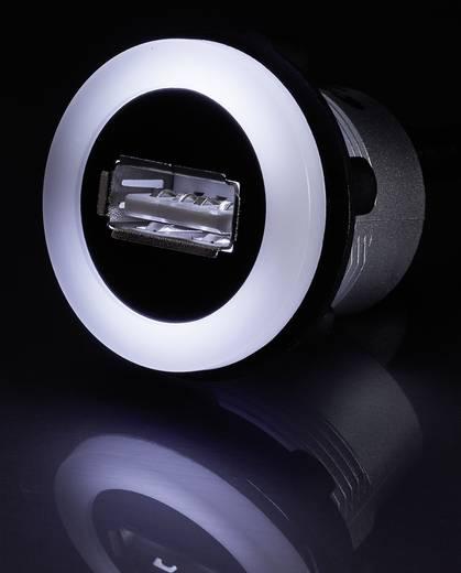 Beépíthető USB A 2.0 megvilágított aljzat, 60cm USB kábellel Conrad USB-05-BK