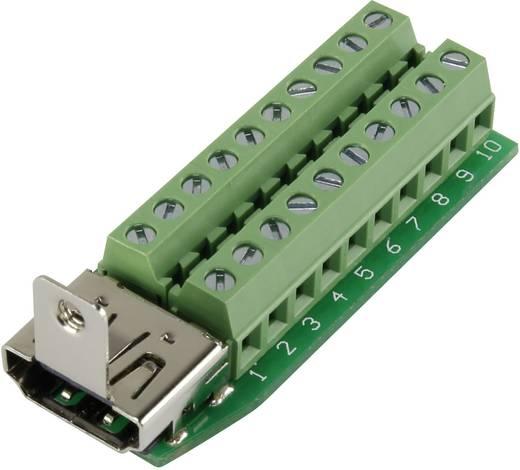 HDMI csatlakozó alj, beépíthető, vízszintes, pólusszám: 20, ezüst, Conrad HDMI-AFT-2