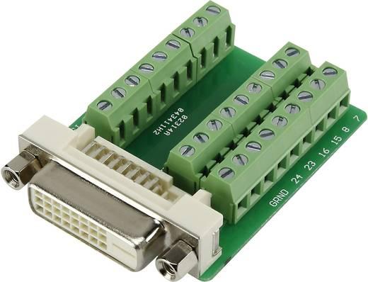 DVI csatlakozó alj, beépíthető, vízszintes, pólusszám: 24, ezüst, DVI24FT3.81