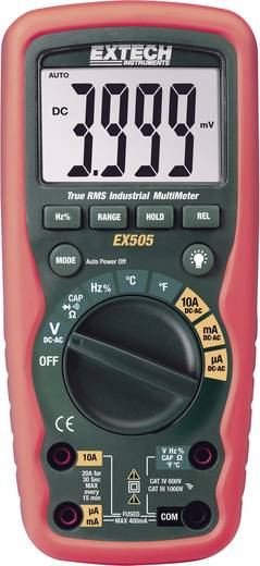 Digitális multiméter, vízálló (IP67) True RMS mérőműszer, hőmérséklet méréssel 10A AC/DC Extech EX505