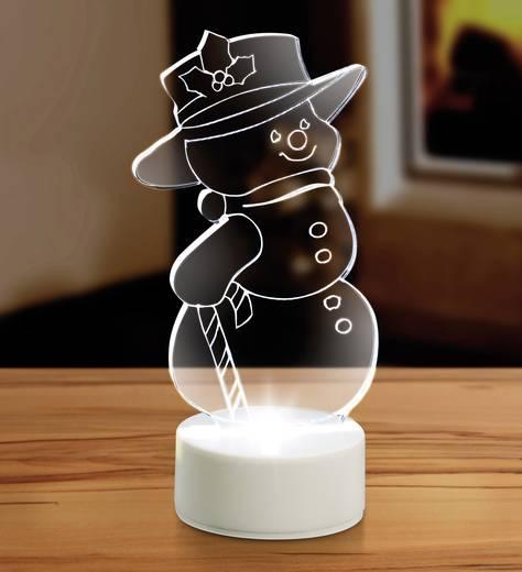 LED-es hóember, hidegfehér, elemes