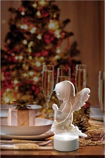 LED-es angyal, hidefehér, elemes, Polarlite