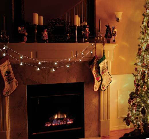 LED-es beltéri fényfüzér, karácsonyfák, elemes, 16 LED, 440 cm, Polarlite LBA-03-006