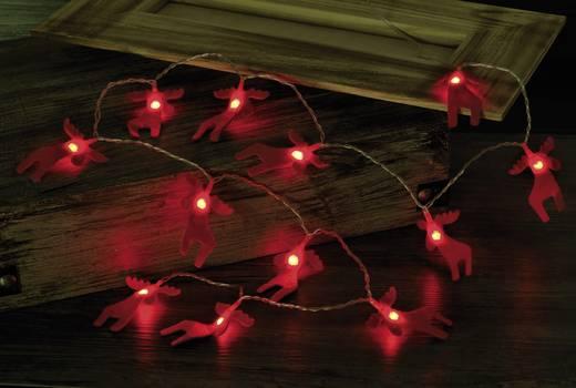 Beltéri LED-es filc fényfüzér, szarvas motívumos, 12 LED, elemes, 1,32 m, piros, Polarlite LBA-04-002