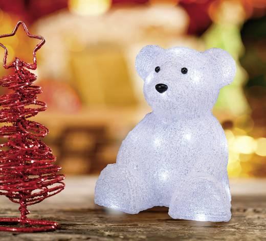 LED-es akril figura, jegesmedve, elemes, 25 x 21 cm, fehér, Polarlite LBA-52-004