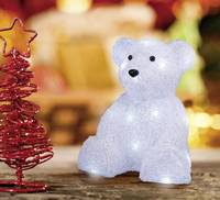 LED-es akril figura, jegesmedve, elemes, 25 x 21 cm, fehér, Polarlite LBA-52-004 (LBA-52-004) Polarlite