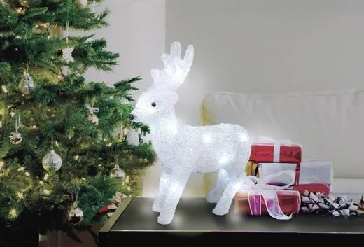 LED-es akril figura, rénszarvas, elemes, 30 x 28 cm, fehér, Polarlite LBA-52-005