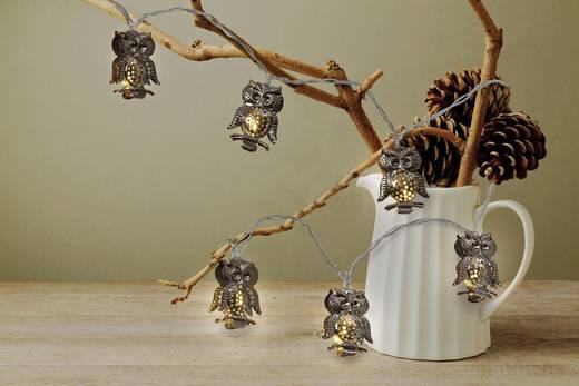 Beltéri LED-es fényfüzér, baglyokkal, elemes, 155 cm, 8 melegfehér LED, Polarlite