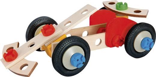 Fa építőkészlet, versenyautó, 50 db-os készlet, Heros Constructor