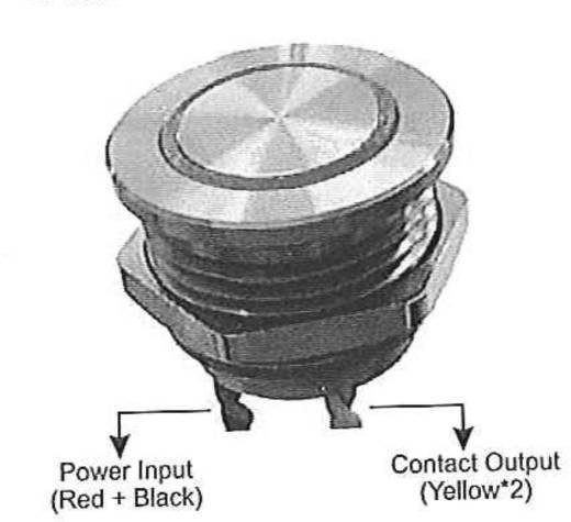 Beépíthető csengőgomb piezoval 24V/1A 25mm, nemesacél/piros, 1 részes, renkforce 1233224