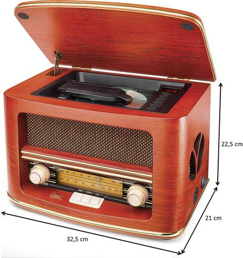 Asztali retro rádió, nosztalgia rádió, CD lejátszóval, fa burkolatú Dual NR 1 CD 73134