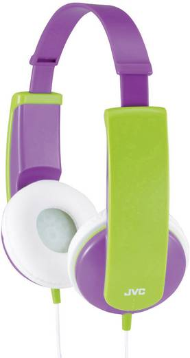 Fejhallgató gyermekeknek, hangerőszabályozóval, lila/zöld, JVC HA-KD5-VE