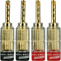 Hangszóró csatlakozó dugó, egyenes, arany/piros/fekete, Oehlbach 3021 4 db (3021) Oehlbach