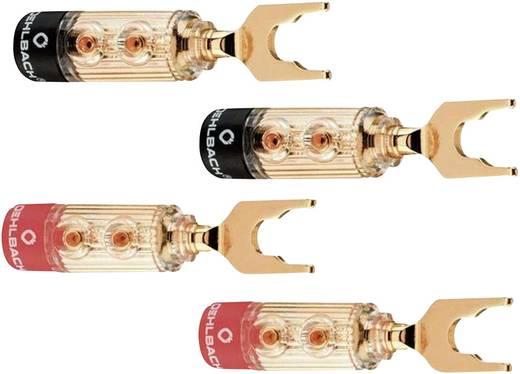 Hangszóró csatlakozó dugó, egyenes, arany/piros/fekete, Oehlbach 3033 4 db