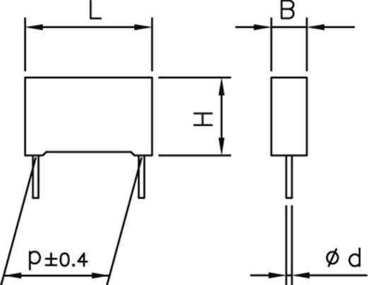 Poliészter kondenzátor, radiális 100 nF 63 V 10 % 5 mm, 7,2 x 2,5 x 6,5 Kemet R82DC3100AA50K