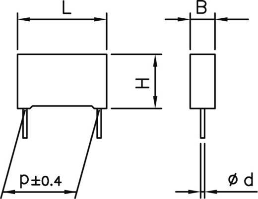 MKP zavarszűrő kondenzátor, radiális 47 nF 275 V 20 % 15 mm, 18 x 5 x 11 Kemet R46KI24700001M