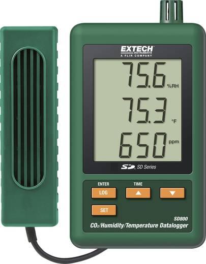 Levegő minőség mérés adatgyűjtő, hőmérséklet, páratartalom és szén-dioxid mérő műszer Extech SD 800