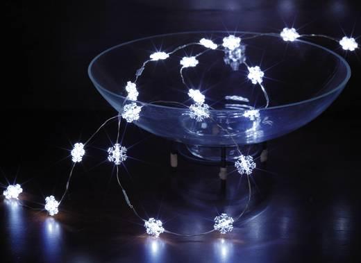 Beltéri LED-es fényfüzér, hópehely motívumos, 20 LED, elemes, 1,5 m, hidegfehér, Polarlite LBA-03-010