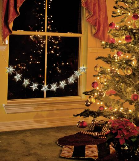 LED-es fényfüzér papír csillag motívumokkal, 10 LED, elemes, hidegfehér, 230 cm, Polarlite LBA-02-002