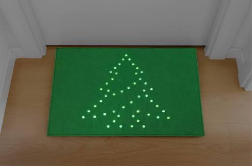 LED-es karácsonyi lábtörlő, fenyő motívummal, zöld, Polarlite PDE-05-001