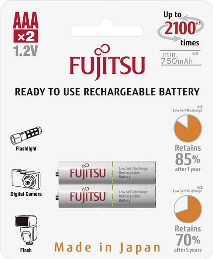 Mikroceruza akku AAA NiMH, 1,2V 750 mAh, 2 db, Fujitsu Ready-to-use HR3, HR03, UO100557, DC2400, DC2400B4N, LR03