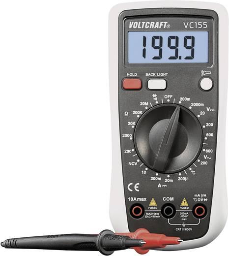 Digitális multiméter, hőmérséklet méréssel, zseblámpa funkció és háttérvilágítással 600V AC/DC 10A/DC Voltcraft VC155