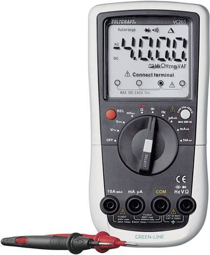 Digitális multiméter, True RMS mérőműszer, automata méréshatárváltással 600V AC/DC 10A AC/DC Voltcraft VC265 Green Line