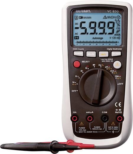 Digitális multiméter, automata méréshatárváltás, kitöltési tényező mérés 750V/AC 1000V/DC 10A AC/DC VOLTCRAFT VC830