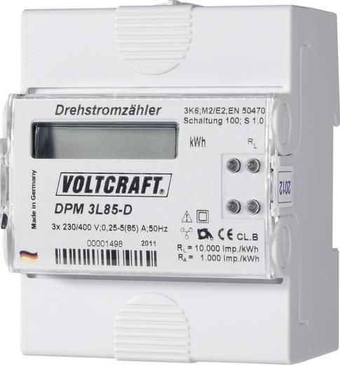 DIN sínre szerelhető, digitális fogyasztásmérő 85 A, 3 x 230 V/AC, 3 fázis, VOLTCRAFT DPM 3L85-D