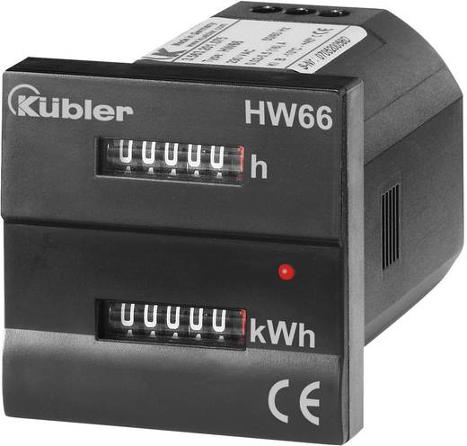 Beépíthető fogyasztásmérő és üzemóra számláló, 16 A, 230 V/AC, Kübler HW66 M 3.56M.201.075
